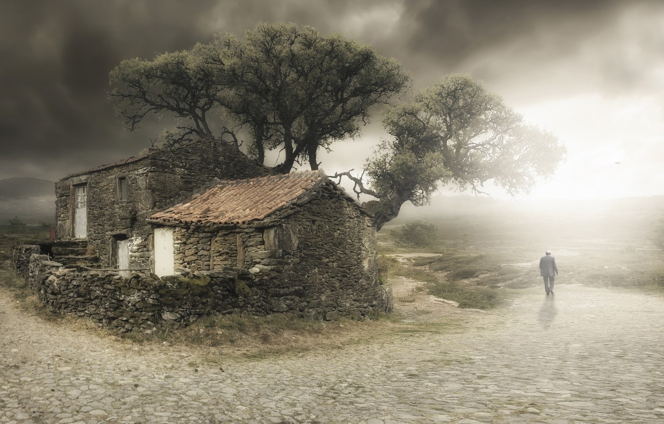 Photo wallpaper house, tree, people, old, I'm leaving