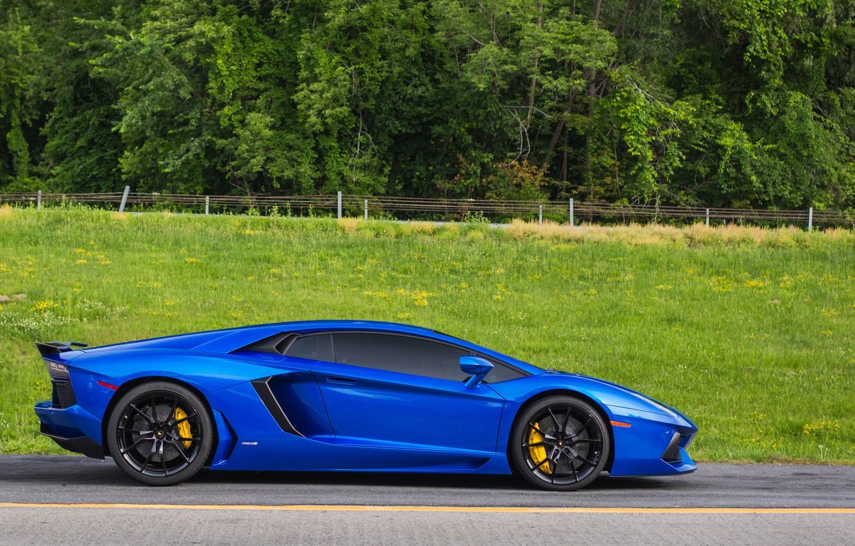 Photo wallpaper Lamborghini, side, blue, view, aventador
