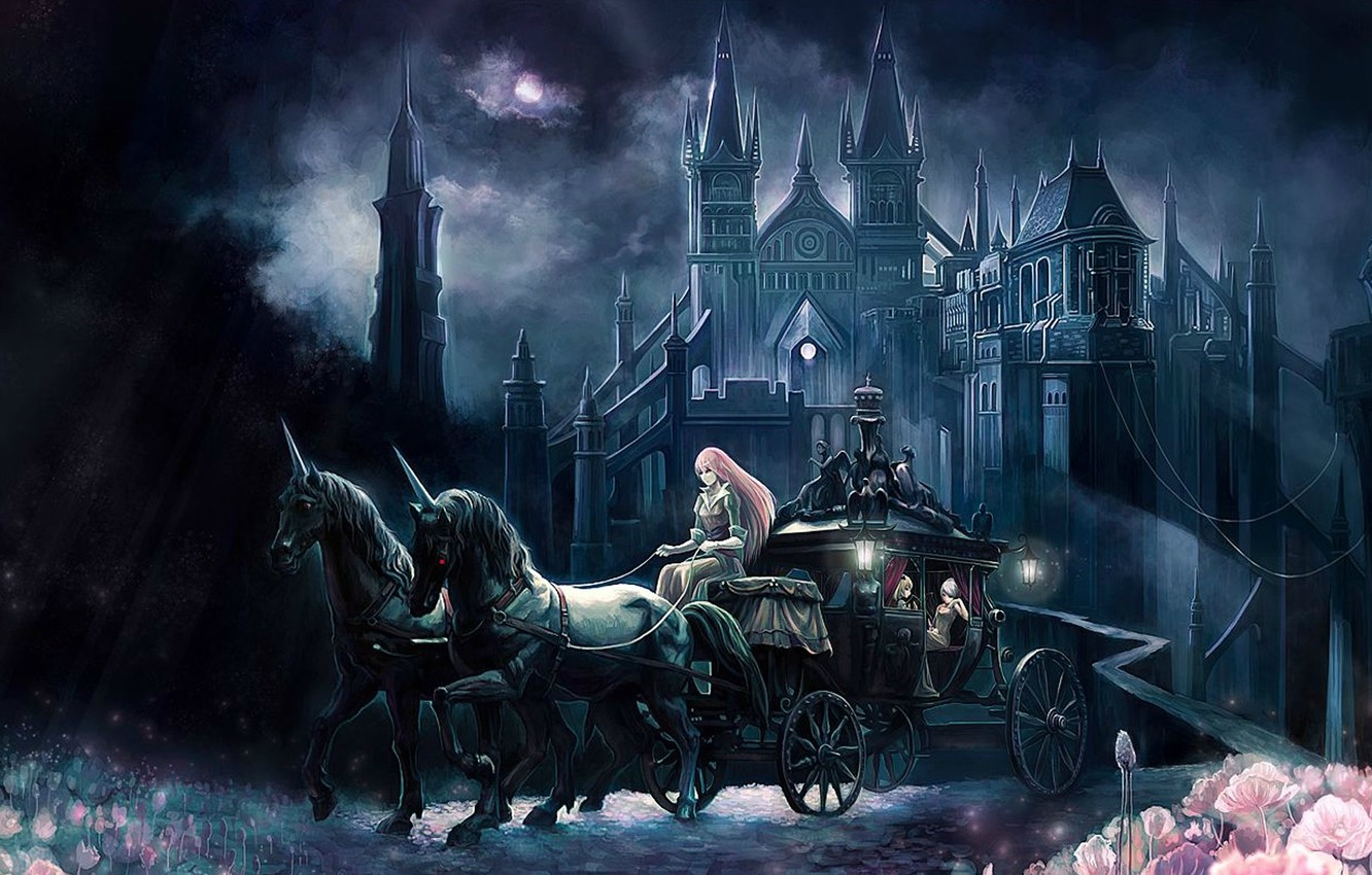 Photo wallpaper road, flowers, night, castle, crown, horse, coach, walk, the full moon, spires, Fanari, Gothic architecture, …