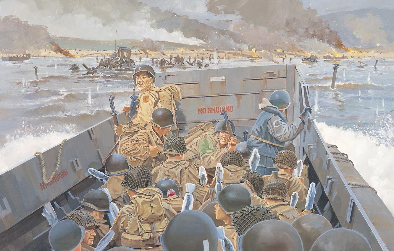 Photo wallpaper beach, art, artist, soldiers, shelf, Beach, landing, 1st, invasion, WW2, front, D-Day, through, forces, infantry, …