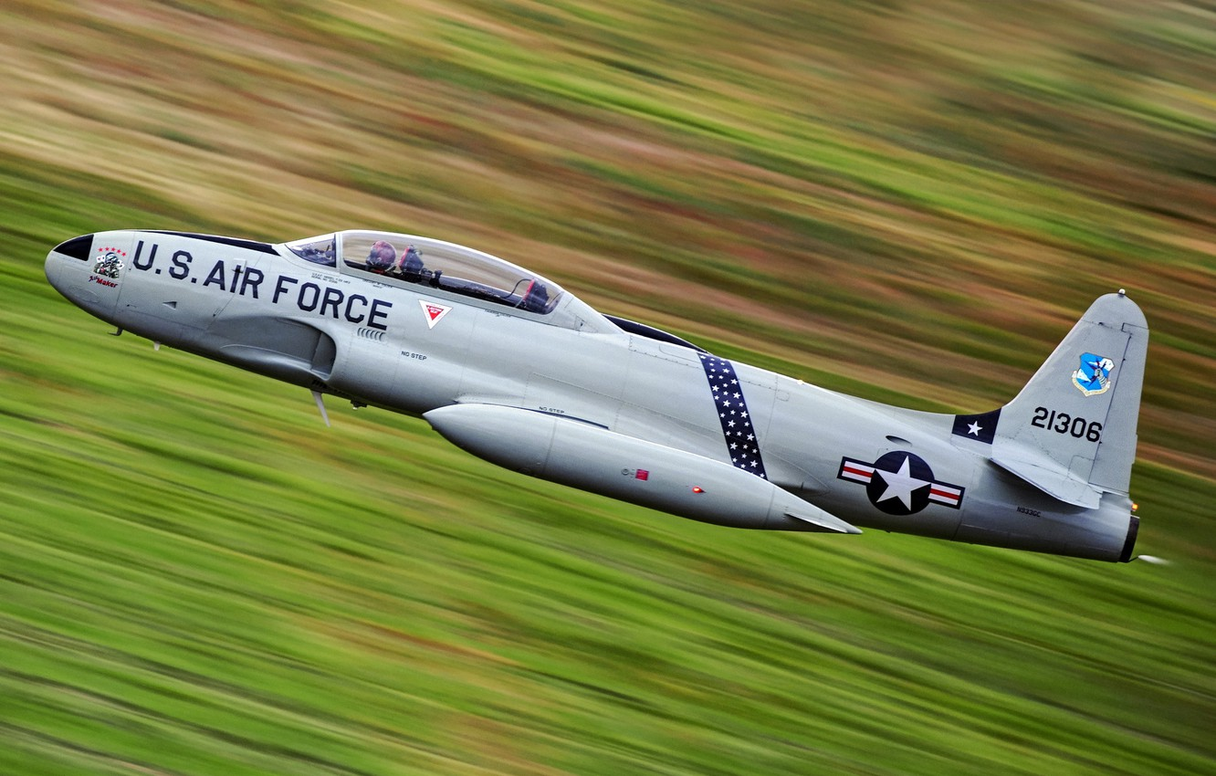 Photo wallpaper the sky, weapons, the plane, Lockheed T-33 Shooting Star