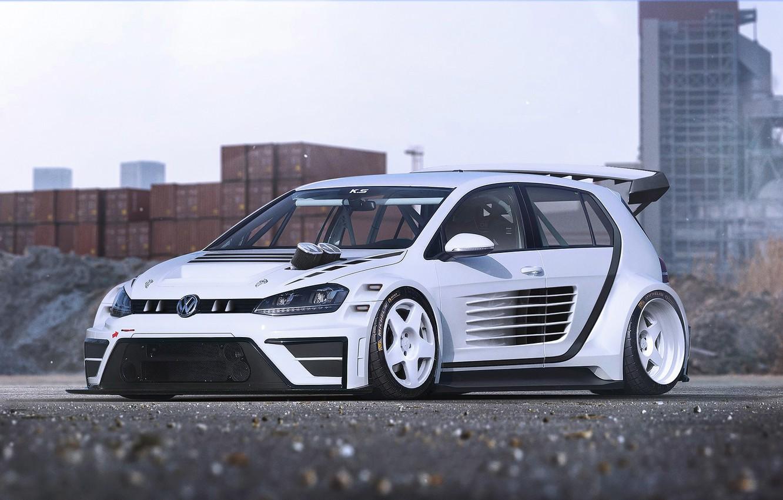 Photo wallpaper Volkswagen, Car, Race, White, Golf, Future, by Khyzyl Saleem, MK7