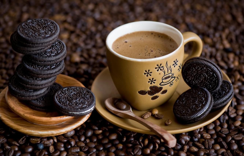 Photo wallpaper coffee, cookies, decoration