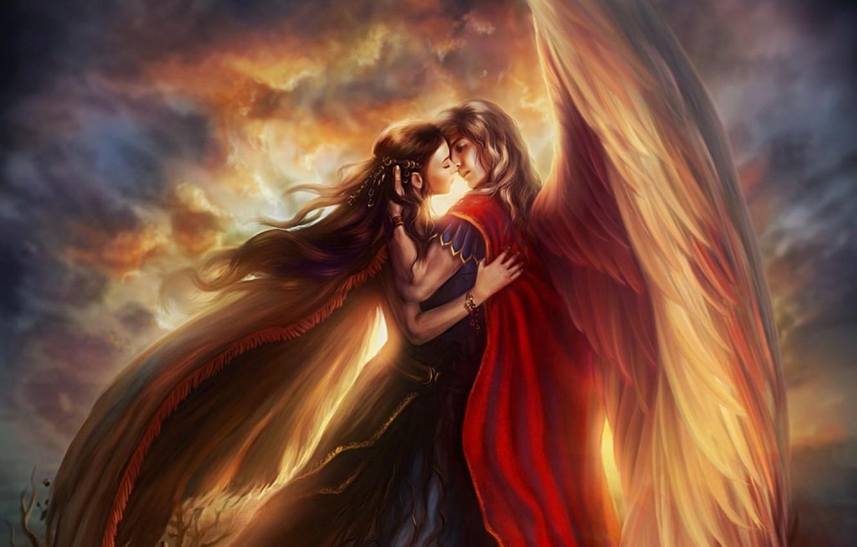 Photo wallpaper girl, love, heaven, wings, dress, Guy