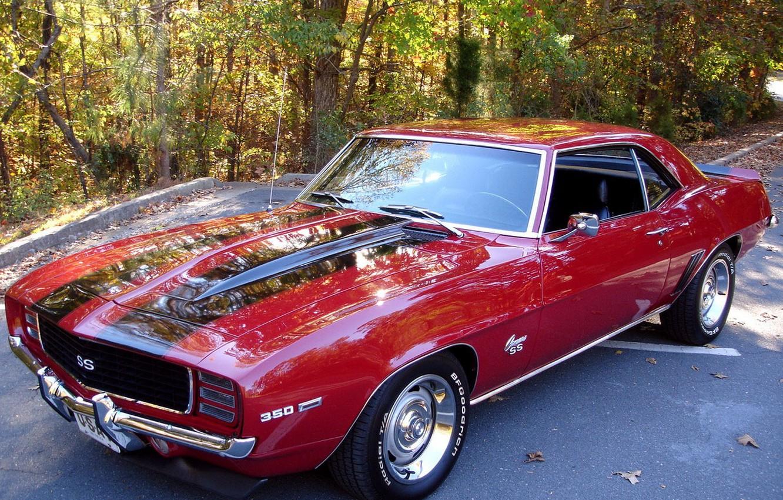 Photo wallpaper red, Parking, Camaro