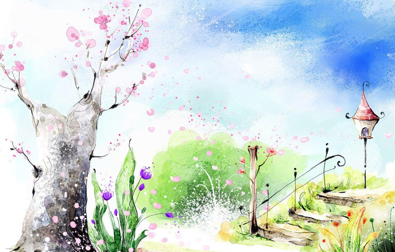 Photo wallpaper flowers, Park, spring, ladder, lantern