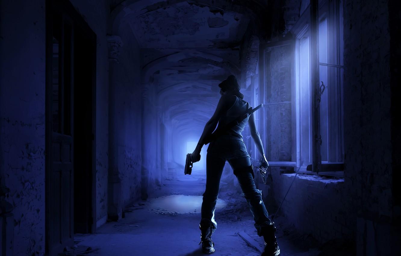 Photo wallpaper girl, night, gun, weapons, sword, corridor, killer, gloomy