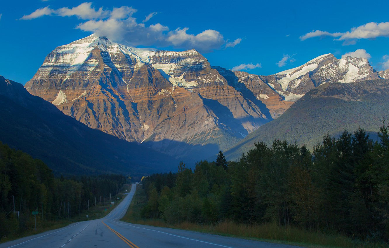 Photo wallpaper road, forest, snow, trees, mountains, top, Canada, British Columbia, Canada