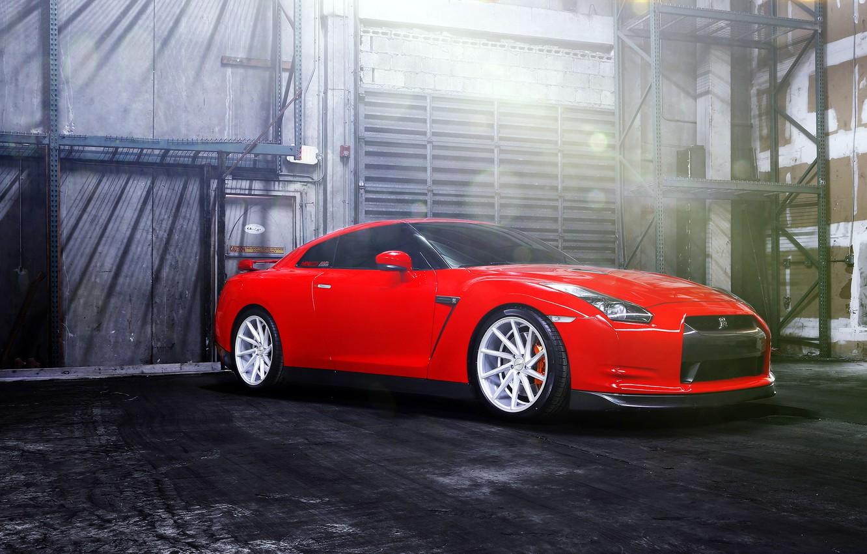 Photo wallpaper GTR, red, Nissan, wheels, vossen, frontside