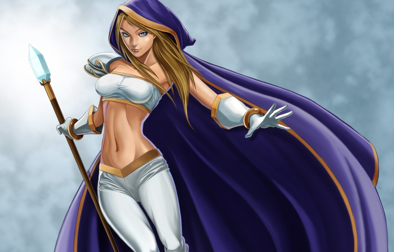 Photo wallpaper chest, girl, staff, cloak, waist, DotA, Crystal Maiden, DotA, Defense of the Ancients, rulana, Rylai …