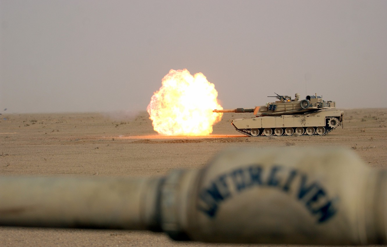 Photo wallpaper weapons, fire, flame, Wallpaper, desert, shot, tank, wallpaper, gun, abrams, firing, main, m1a1, Abrams