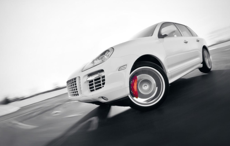 Photo wallpaper Auto, White, Porsche, Tuning, Speed, Turn, Machine, Cayenne