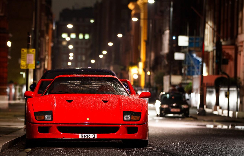 Photo wallpaper drops, night, the city, street, wet, Ferrari, F 40