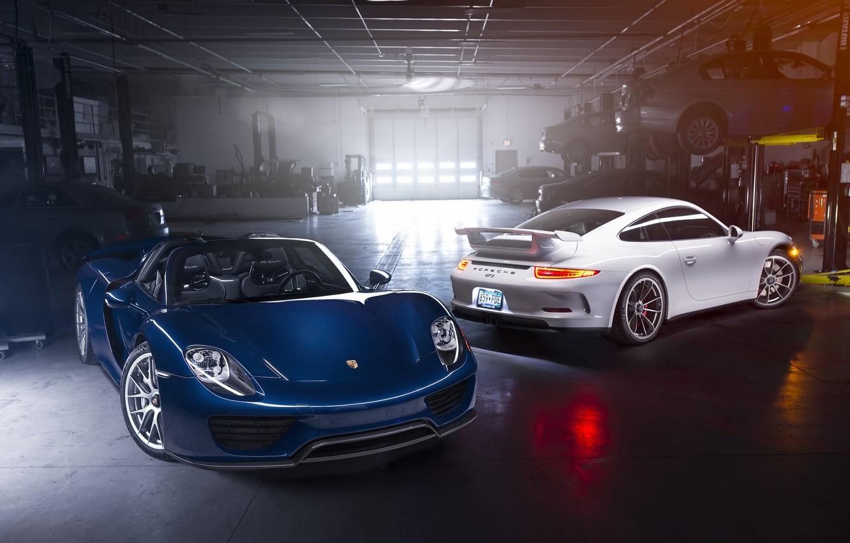 Photo wallpaper Porsche, Blue, Front, Spyder, 918, GT3, White, Supercars, Garage, Automotive, Rear