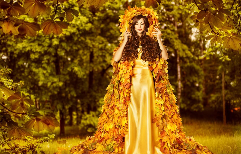 Photo wallpaper autumn, leaves, girl, creative, hair, dress, woman, beautiful, autumn, leaves, gold