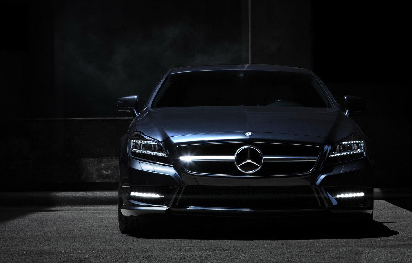 Photo wallpaper night, Mercedes, the front, Mercedes Benz CLS