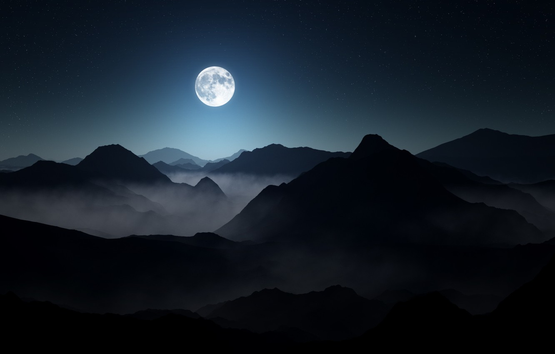 Photo wallpaper the sky, landscape, mountains, night, fog, darkness, moon, landscape, mountains, stars, darkness, full moon, lighting, …