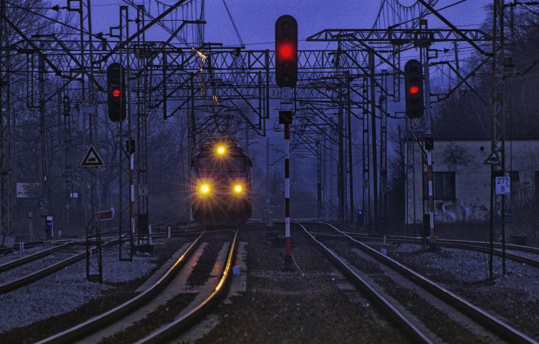 Photo wallpaper train, lights, twilight, power lines