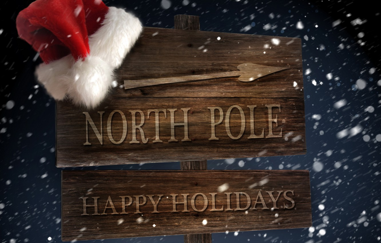 Photo wallpaper winter, snow, the wind, holiday, hat, new year, arrow, index, North pole, Blizzard, new year, …