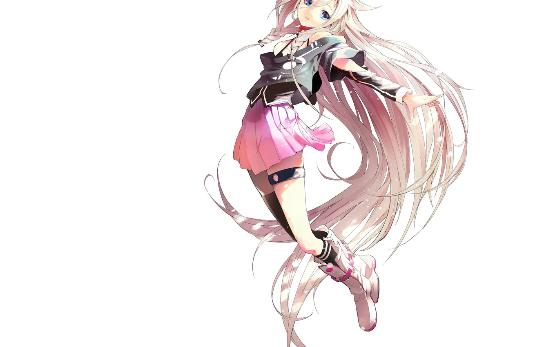 Photo wallpaper girl, anime, art, white background, vocaloid, akasaka aka
