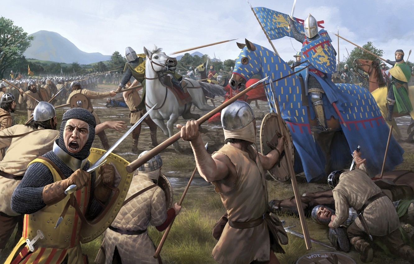 Photo wallpaper weapons, horse, horse, sword, war, art, spear, battle, the corpse, the middle ages, battlefield