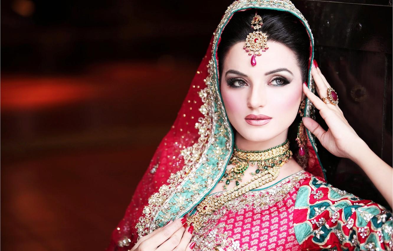 Wallpaper girl, woman, Indian, wedding makeup, native dress