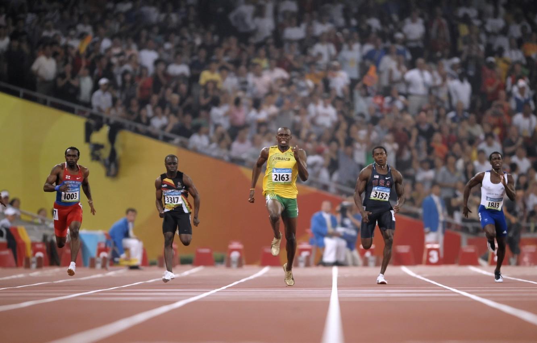 Photo wallpaper running, Olympic games, run, Usain bolt, usain bolt