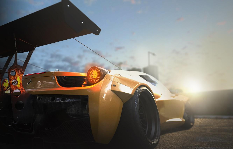 Photo wallpaper Ferrari, 458, Sun, Yellow, Tuning, Italia, Supercar, Wheels, Track, Spoiler, DRAG