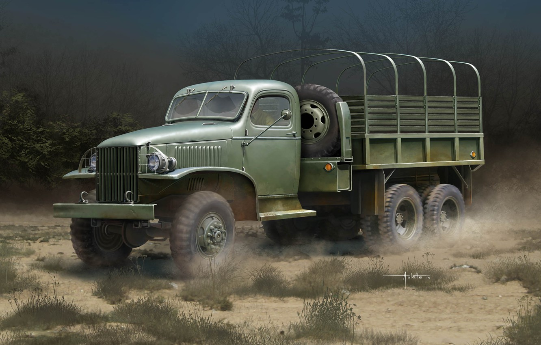 Photo wallpaper art, US GMC CCKW-352, Truck