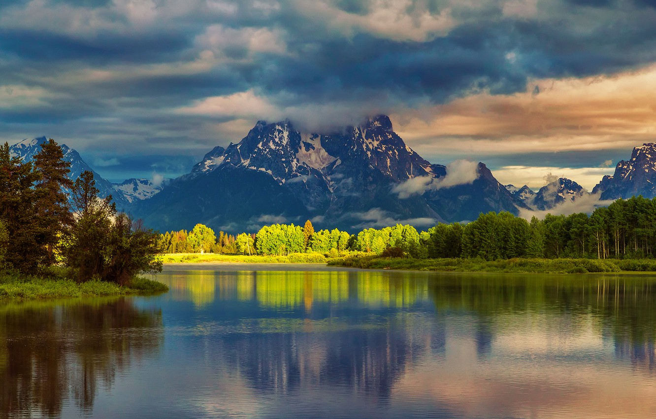 Photo wallpaper forest, summer, water, clouds, light, reflection, mountains, morning, USA, national Park, Grand Teton, Wyoming, Oxbow …