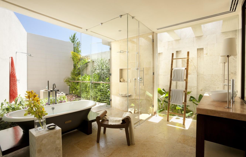 Photo wallpaper flowers, design, room, interior, plants, sink, tile, shower, bathroom, towels