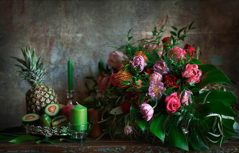 Photo wallpaper candles, Bouquet, pineapple, avocado