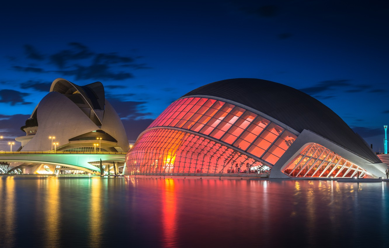 Photo wallpaper the sky, clouds, night, bridge, lights, reflection, river, lighting, lights, blue, Spain, Valencia, the architectural …