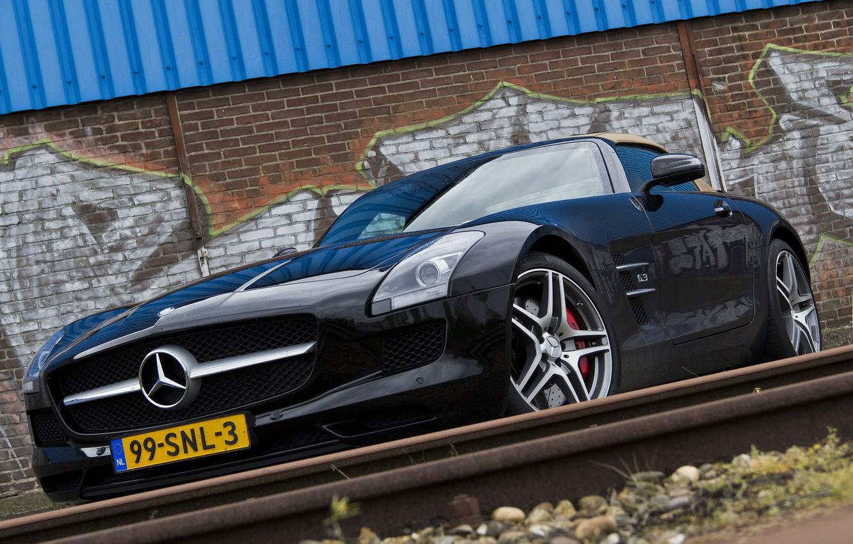 Photo wallpaper wall, black, Mercedes, wall, Roadster, black, Mercedes, sls, amg, roadster, AMG