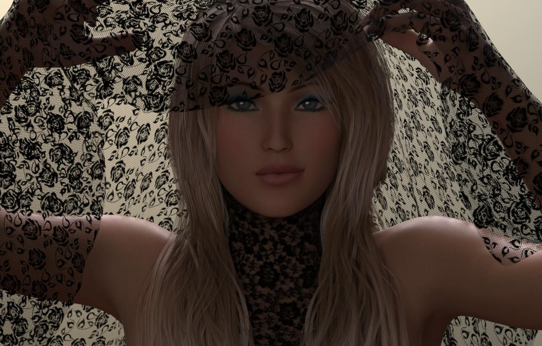 Photo wallpaper girl, rendering, makeup, blonde, blue eyes, hands. fabric