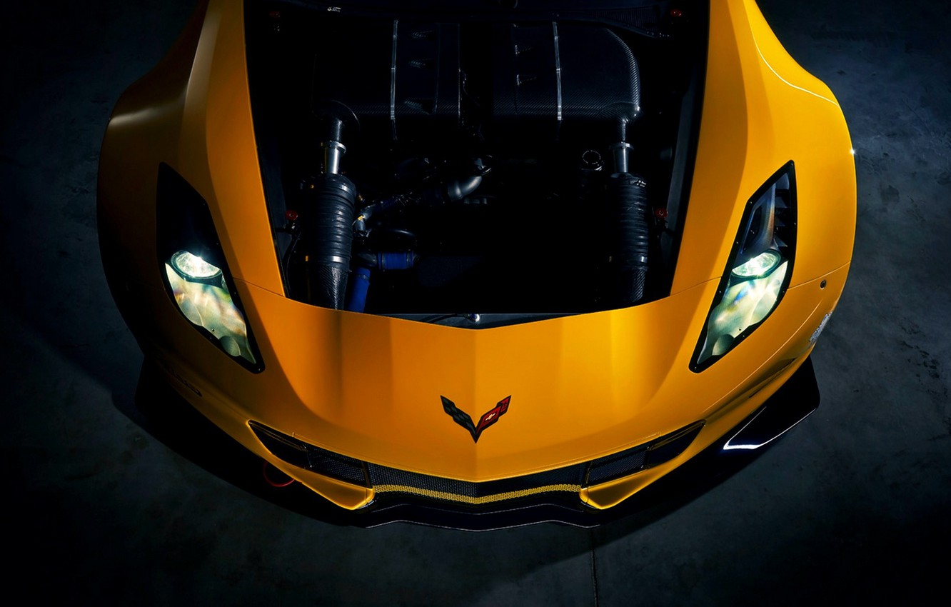 Photo wallpaper Yellow, Corvette, Chevrolet, Machine, Engine, Lights, Car, Yellow, Stingray, Corvette, The front, Chevrolet, Engine