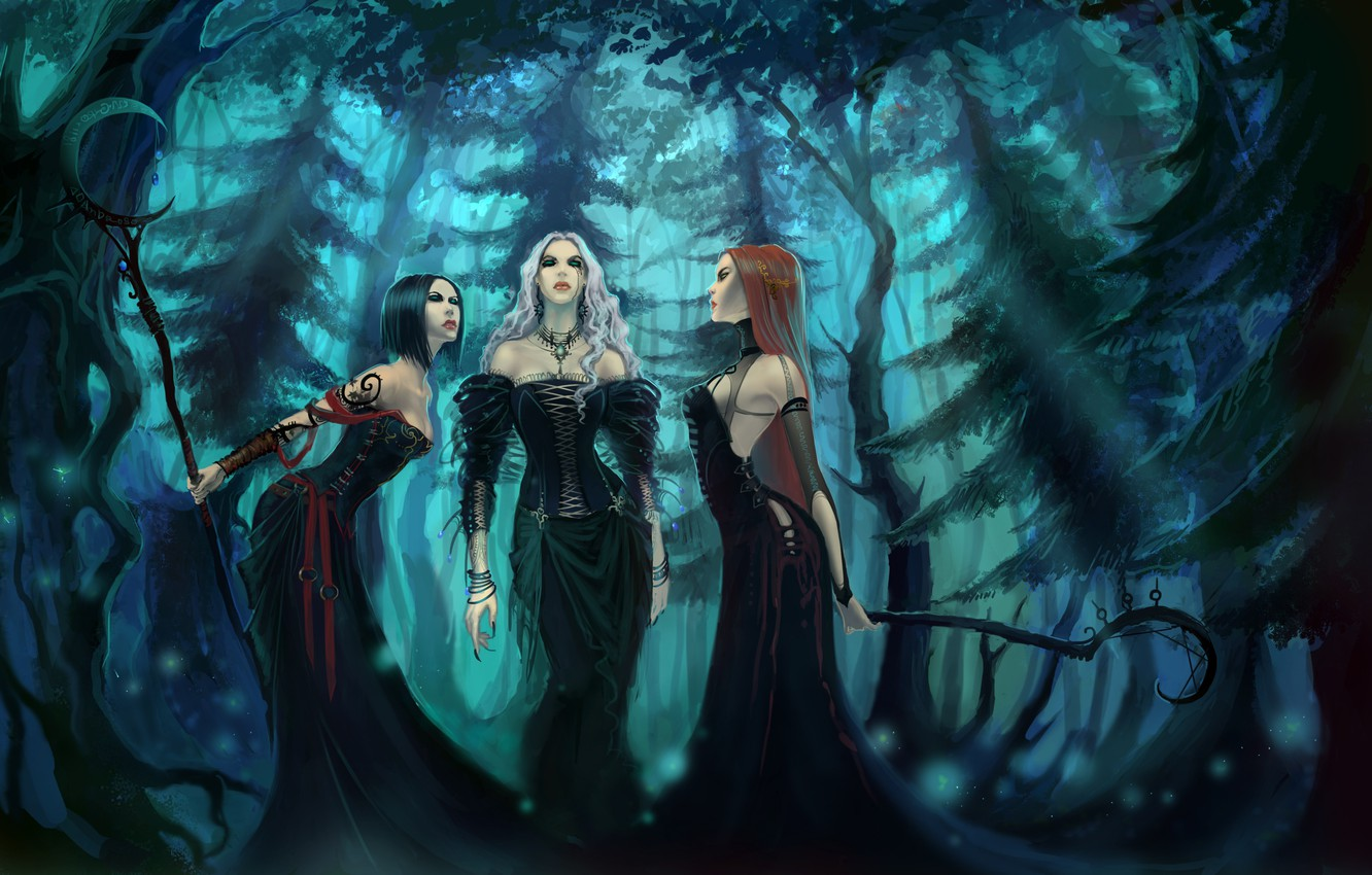 Photo wallpaper forest, three, Witches, Witches