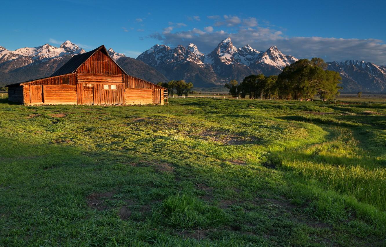 Photo wallpaper field, landscape, mountains, house