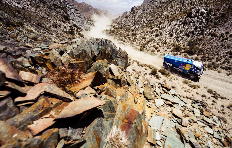 Photo wallpaper Mountains, Blue, Dust, Sport, Machine, Speed, Stones, Truck, Race, Gorge, Kamaz, Rally, Dakar, KAMAZ, 2014