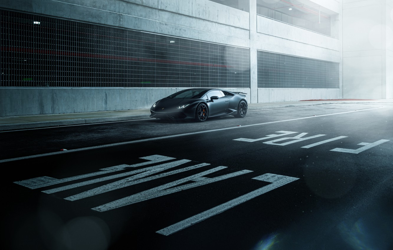 Photo wallpaper Lamborghini, Dark, Front, Black, Color, Road, Supercar, Wheels, Huracan, LP610-4