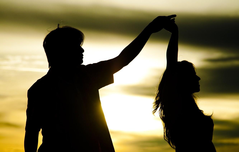 Photo wallpaper girl, the sun, love, sunset, background, movement, widescreen, Wallpaper, romance, mood, woman, feelings, dance, pair, …