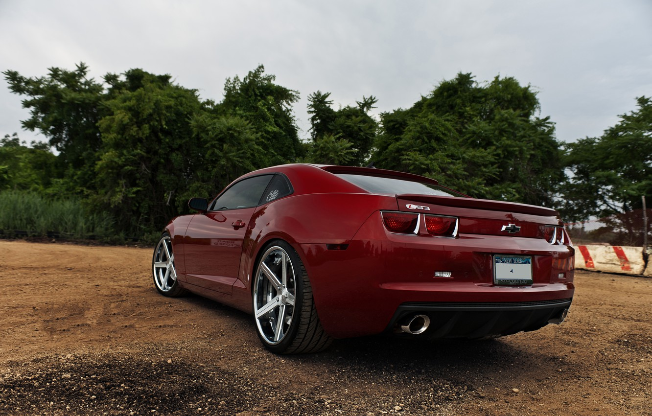 Photo wallpaper red, red, Chevrolet, chevrolet, back, camaro ss, Camaro SS, tail lights, the exhaust bodies