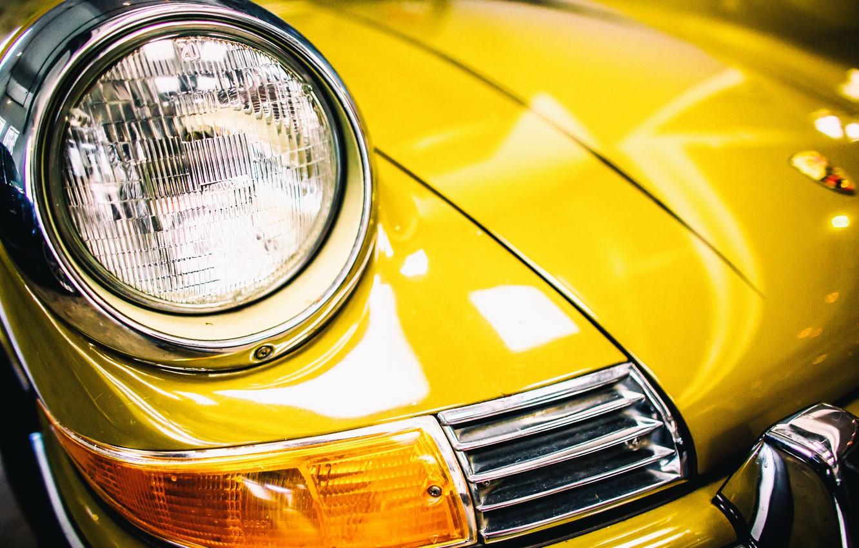 Photo wallpaper yellow, Porsche, the front, 911T