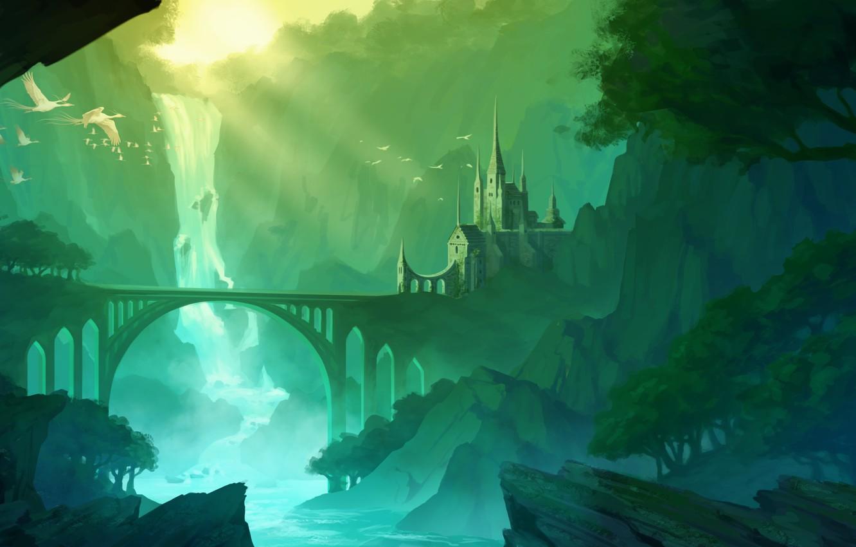 Photo wallpaper mountains, bridge, river, castle