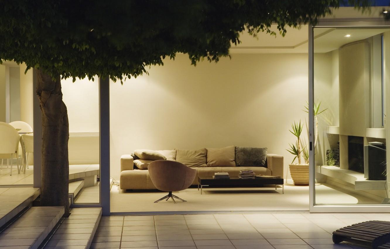 Photo wallpaper design, room, sofa, tree, foliage, tile, plant, interior, chair, pillow, steps