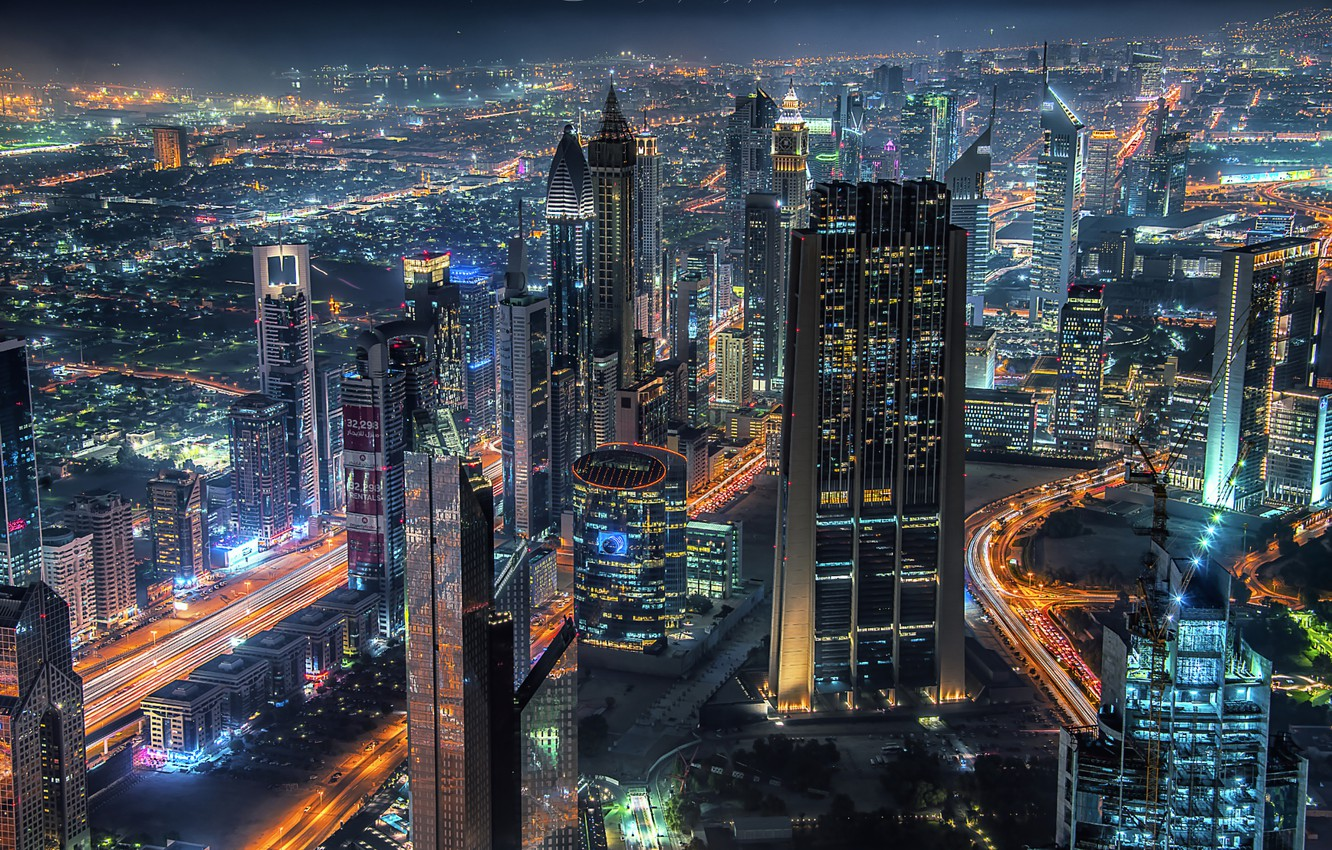 Photo wallpaper night, the city, lights, home, Dubai, UAE