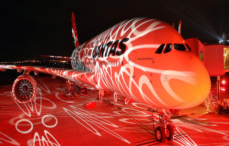 Photo wallpaper aviation, night, lights, the plane, Boeing