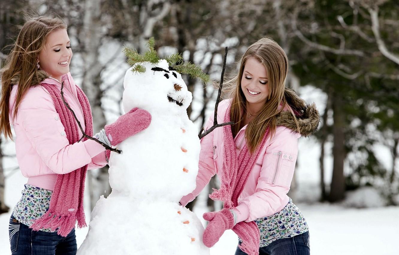 Photo wallpaper winter, snowman, mittens, Twins