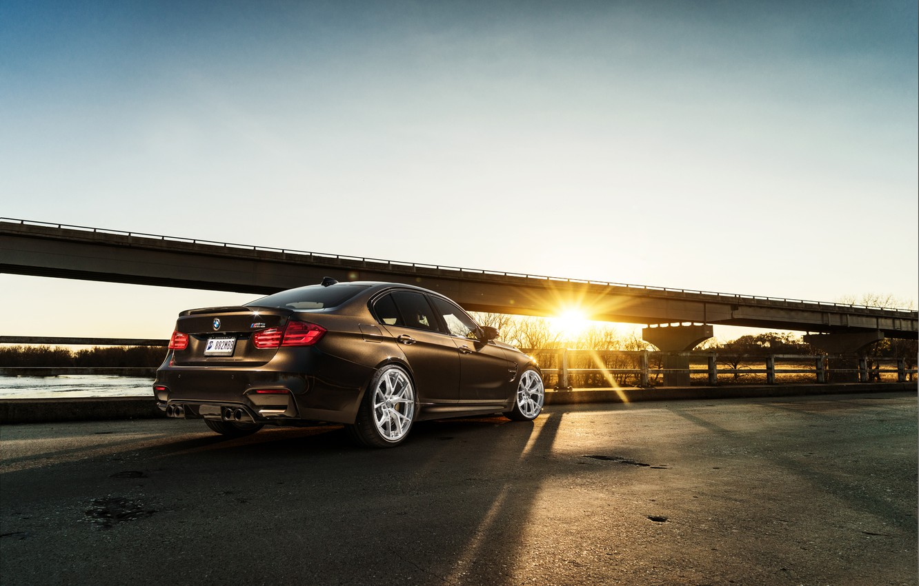 Photo wallpaper BMW, Car, Sky, Sunset, Brown, Rear, F80
