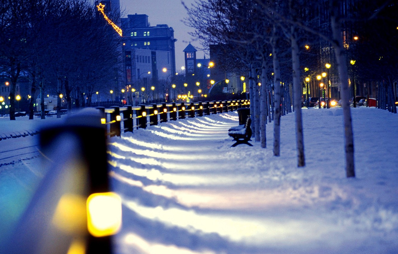 Photo wallpaper winter, snow, night, city, the city, lights, street, lights, benches, night, winter, snow, street, benches